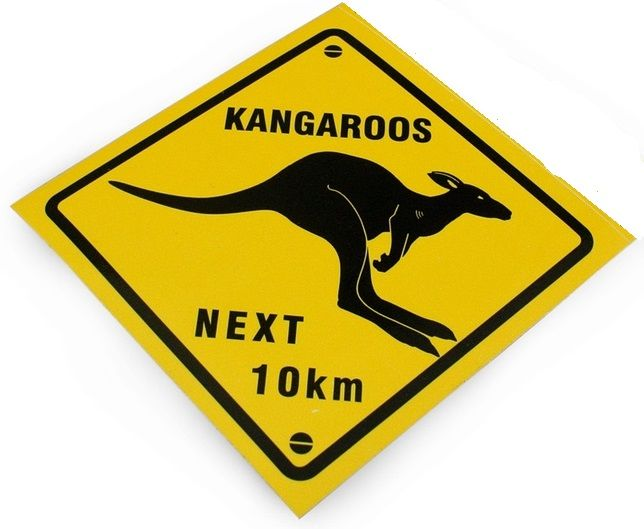Sticker kangaroo next 10 km