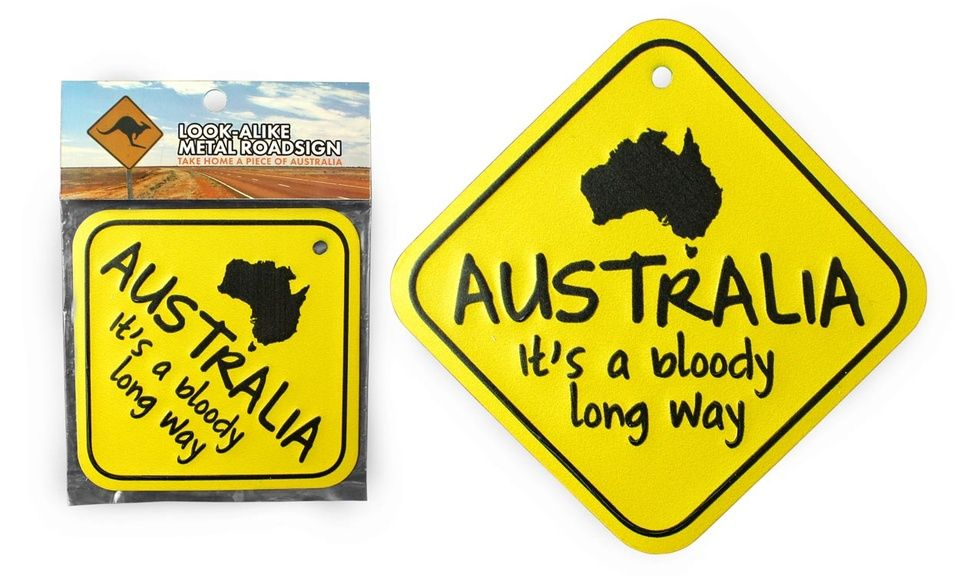 Roadsign METAAL - Bloody long way - 30 cm