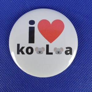 Button - 56 mm - I LOVE KOALAS